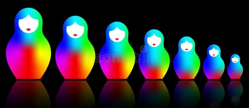 Ρωσικό να τοποθετηθεί matryoshka κουκλών, καθορισμένο ζωηρόχρωμο σύμβολο εικονιδίων της Ρωσίας, φασματικά χρωματισμένα εικονίδια  διανυσματική απεικόνιση