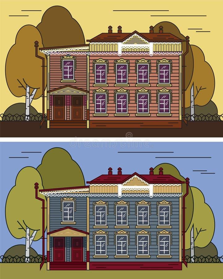 Ρωσικό σπίτι στο χρώμα διανυσματική απεικόνιση