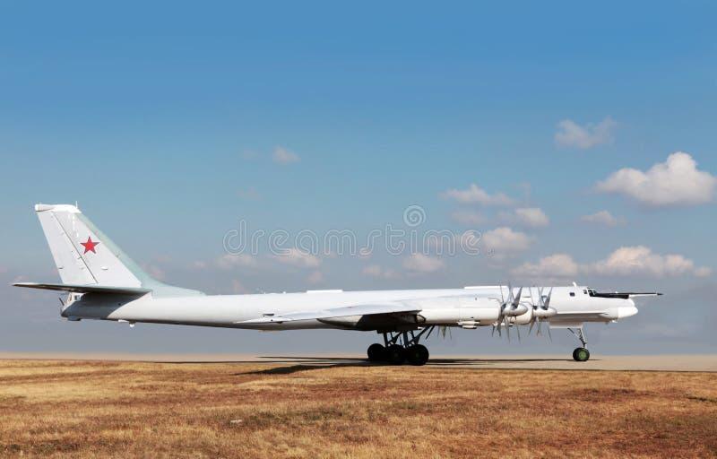 Ρωσικό στρατηγικό βομβαρδιστικό αεροπλάνο TU-95 στοκ εικόνα με δικαίωμα ελεύθερης χρήσης