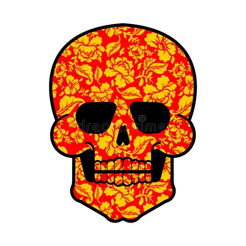 Ρωσικό σύμβολο κρανίων Khokhloma Επικεφαλής θάνατος της Ρωσίας ελεύθερη απεικόνιση δικαιώματος