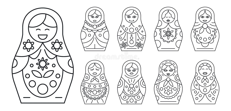 Ρωσικό σύνολο εικονιδίων matryoshka, ύφος περιλήψεων ελεύθερη απεικόνιση δικαιώματος