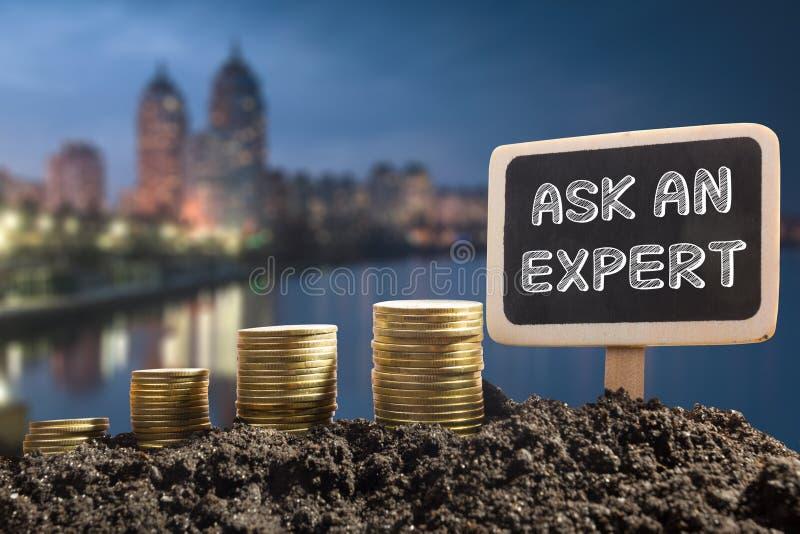 Ρωτήστε έναν εμπειρογνώμονα Οικονομική έννοια ευκαιρίας Χρυσά νομίσματα στον εδαφολογικό πίνακα κιμωλίας στο θολωμένο αστικό υπόβ στοκ εικόνες