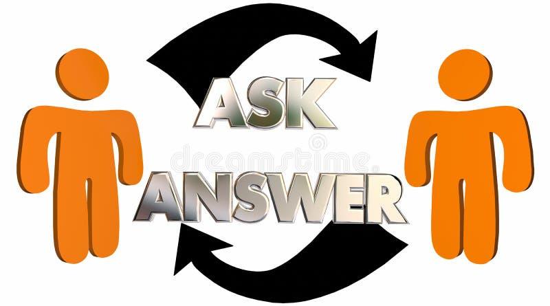 Ρωτήστε οι ερωτήσεις ότι απάντησης παίρνουν τα βέλη ανθρώπων βοήθειας διανυσματική απεικόνιση