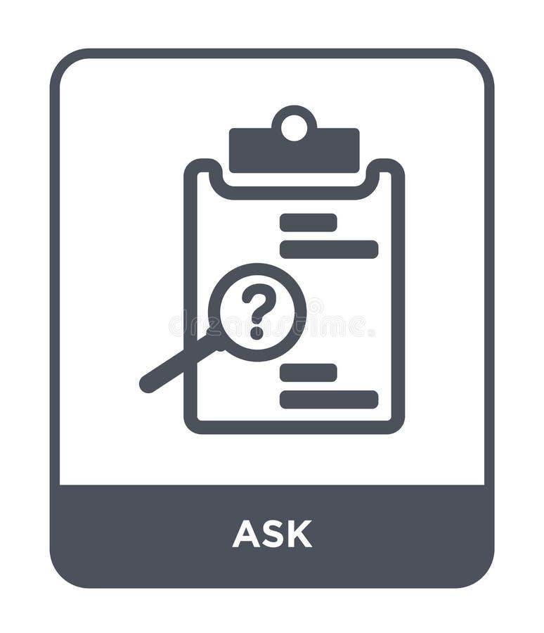 ρωτήστε το εικονίδιο στο καθιερώνον τη μόδα ύφος σχεδίου ρωτήστε το εικονίδιο που απομονώνεται στο άσπρο υπόβαθρο ρωτήστε το διαν διανυσματική απεικόνιση