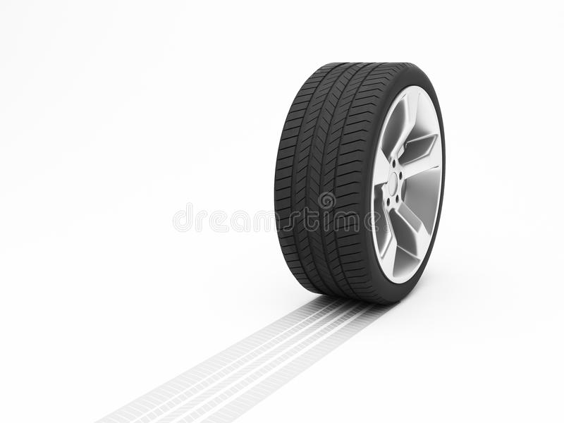 Ρόδα με τη διαδρομή ελαστικών αυτοκινήτου απεικόνιση αποθεμάτων