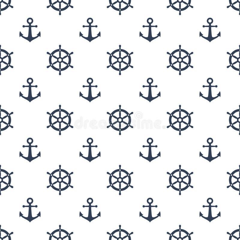 Ρόδα σκαφών και μπλε διανυσματικό άνευ ραφής σχέδιο αγκύρων Ναυτικό σχέδιο ελεύθερη απεικόνιση δικαιώματος