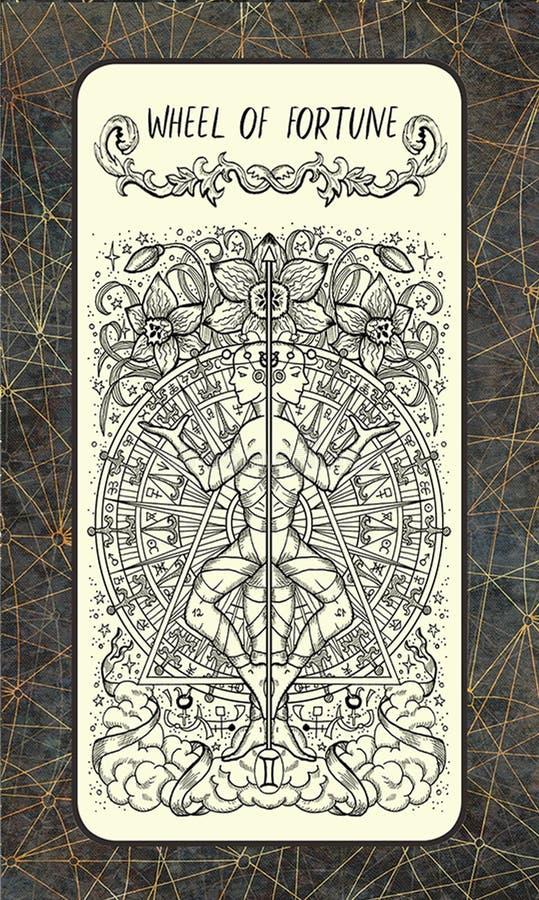 Ρόδα της τύχης Σημαντική κάρτα Arcana Tarot ελεύθερη απεικόνιση δικαιώματος
