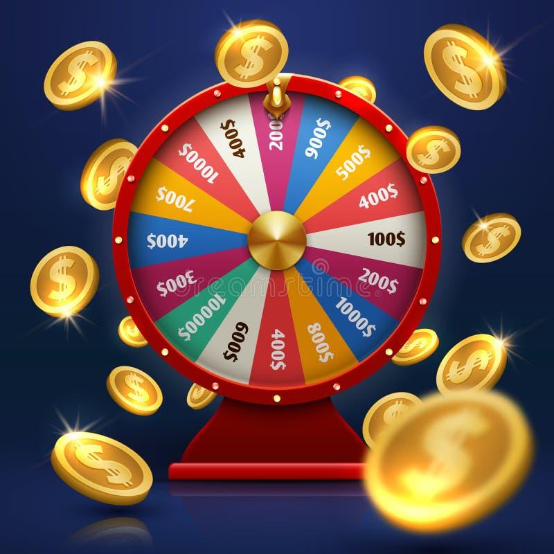 Ρόδα τύχης και χρυσά νομίσματα Τυχερή πιθανότητα στο διανυσματικό υπόβαθρο παιχνιδιών διανυσματική απεικόνιση