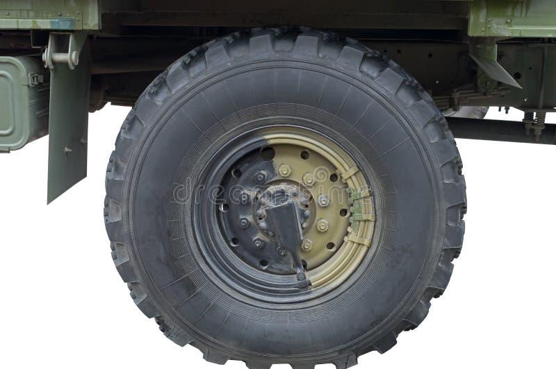 Ρόδα φορτηγών στρατιωτικών οχημάτων στοκ φωτογραφία