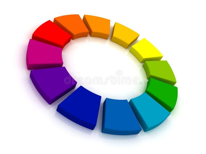 Ρόδα χρώματος τρισδιάστατη διανυσματική απεικόνιση