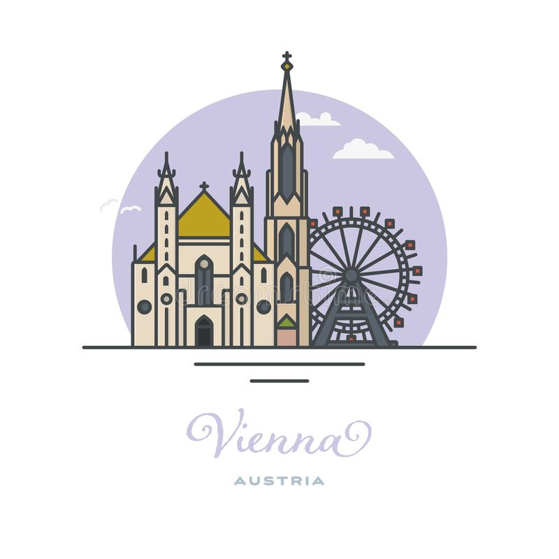 Ρόδα ferris καθεδρικών ναών και Prater, Βιέννη, επίπεδη διανυσματική απεικόνιση ελεύθερη απεικόνιση δικαιώματος