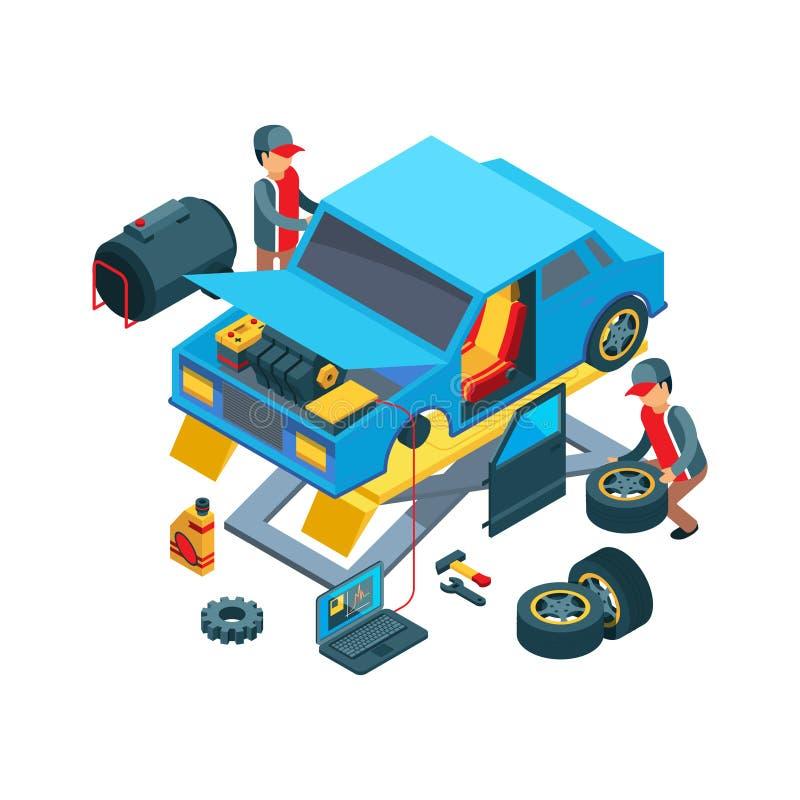 Ρόδες αυτοκινήτων αλλαγής Τεχνικοί που εργάζονται στην αυτόματη υπηρεσιών διανυσματική εικόνα λεπτομερειών αυτοκινήτων μηχανικής  ελεύθερη απεικόνιση δικαιώματος