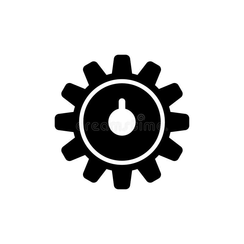 Ρόδες εργαλείων ρολογιών, διανυσματικό εικονίδιο τραίνων ροδών διανυσματική απεικόνιση