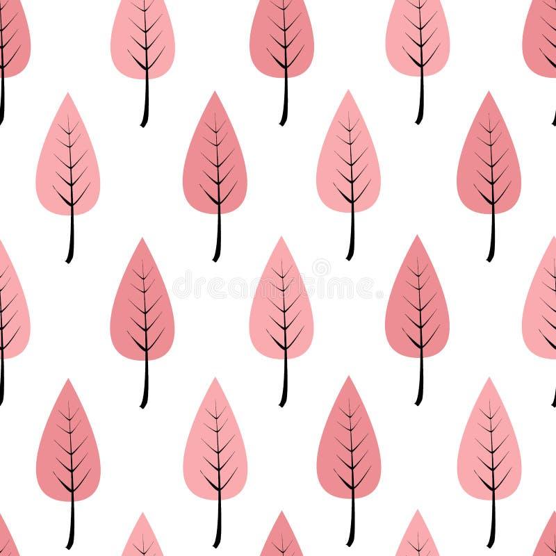 Ρόδινα δέντρα κινούμενων σχεδίων σε μια σειρά, άνευ ραφής σχέδιο Δάσος ή κήπος Doodle σε ένα άσπρο υπόβαθρο σύγχρονο πρότυπο άνευ απεικόνιση αποθεμάτων