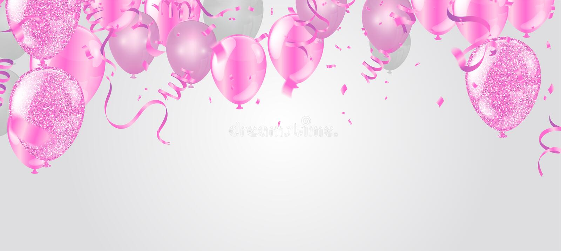Ρόδινα και άσπρα μπαλόνια και στο άσπρο υπόβαθρο EPS 10 διανυσματικό αρχείο απεικόνιση αποθεμάτων
