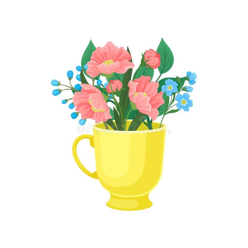 Ρόδινα και μπλε λουλούδια σε μια κούπα E διανυσματική απεικόνιση