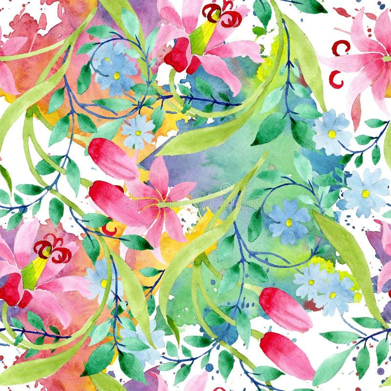 Ρόδινα και μπλε floral βοτανικά λουλούδια διακοσμήσεων Σύνολο απεικόνισης υποβάθρου Watercolor Άνευ ραφής πρότυπο ανασκόπησης διανυσματική απεικόνιση