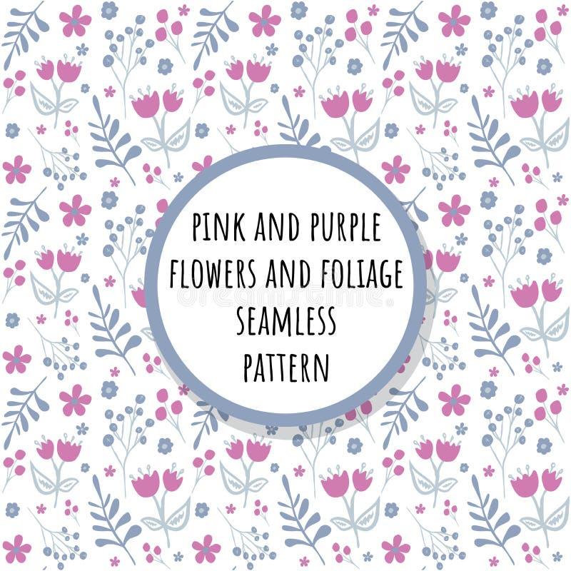 Ρόδινα και πορφυρά λουλούδια και άνευ ραφής σχέδιο φυλλώματος ελεύθερη απεικόνιση δικαιώματος