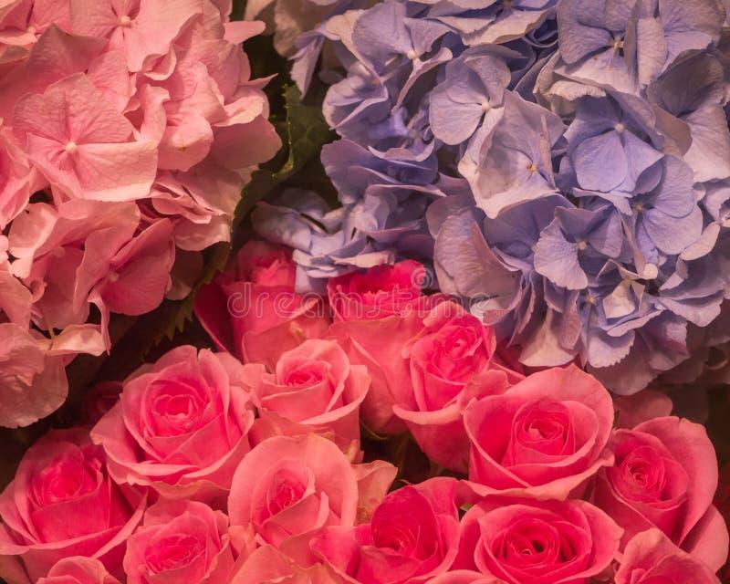 Ρόδινα λουλούδια χρώματος ανθοδεσμών και κρητιδογραφιών τριαντάφυλλων στοκ εικόνα με δικαίωμα ελεύθερης χρήσης