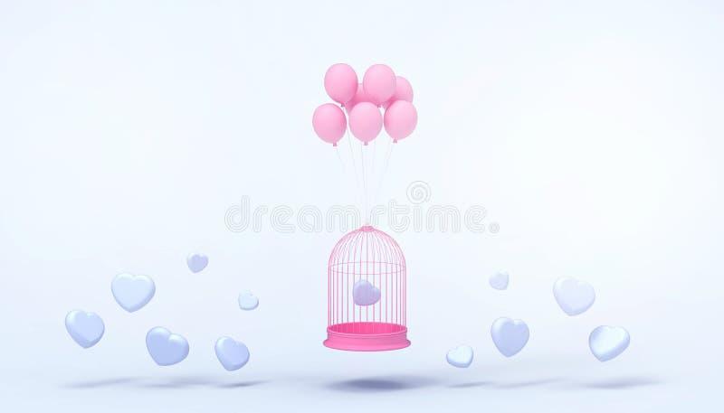 Ρόδινα μπαλόνια καρδιών που παγιδεύονται στο λευκό κλουβί επιπλεόντων σωμάτων και την ελάχιστη ομάδα καρδιών, έννοια αγάπης - ύφο απεικόνιση αποθεμάτων
