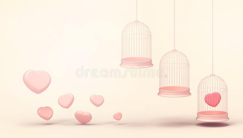 Ρόδινα μπαλόνια καρδιών που παγιδεύονται στο τριπλό κλουβί επιπλεόντων σωμάτων και την ελάχιστη ρόδινη ομάδα καρδιών, έννοια αγάπ διανυσματική απεικόνιση