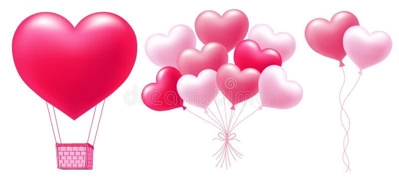 Ρόδινα μπαλόνια στη μορφή καρδιών ελεύθερη απεικόνιση δικαιώματος
