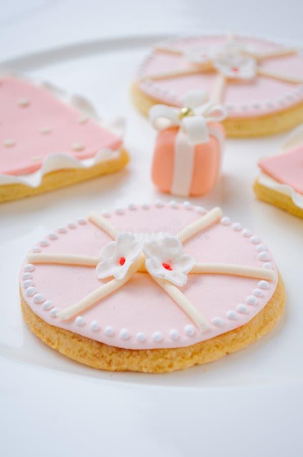 Ρόδινα μπισκότα στοκ εικόνες