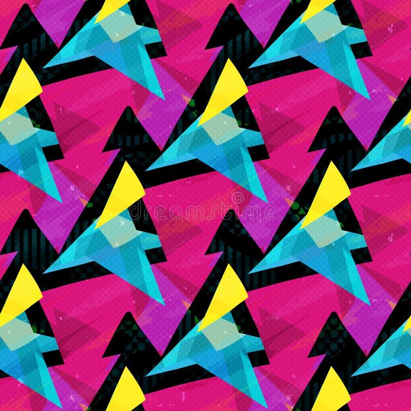 Ρόδινα μπλε και κίτρινα τρίγωνα σε ένα μαύρο άνευ ραφής σχέδιο υποβάθρου ελεύθερη απεικόνιση δικαιώματος