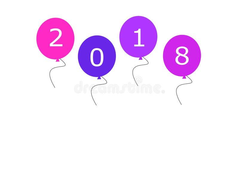 Ρόδινα μπλε πορφυρά μπαλόνια καλής χρονιάς 2018 στο άσπρο υπόβαθρο απεικόνιση ελεύθερη απεικόνιση δικαιώματος