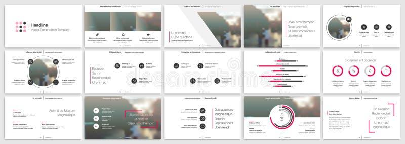 Ρόδινα στοιχεία προτύπων παρουσίασης σε ένα άσπρο υπόβαθρο Διανυσματικό infographics ελεύθερη απεικόνιση δικαιώματος