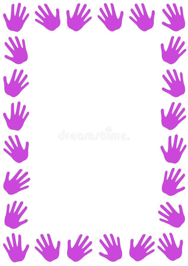 Ρόδινα σύνορα πλαισίων κοριτσιών χεριών διανυσματική απεικόνιση