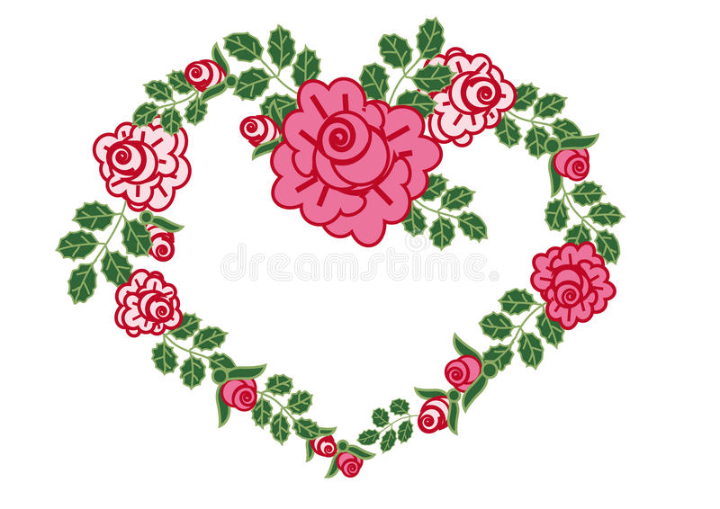 ρόδινα τριαντάφυλλα καρδ&i ελεύθερη απεικόνιση δικαιώματος