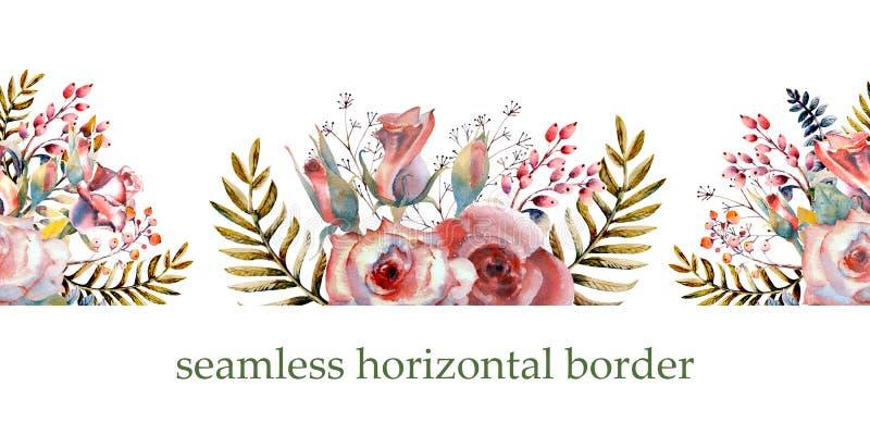 Ρόδινα τριαντάφυλλα, οφθαλμοί, φύλλα Επανάληψη των θερινών οριζόντιων συνόρων Floral watercolor Συνθέσεις Watercolor για το σχέδι διανυσματική απεικόνιση