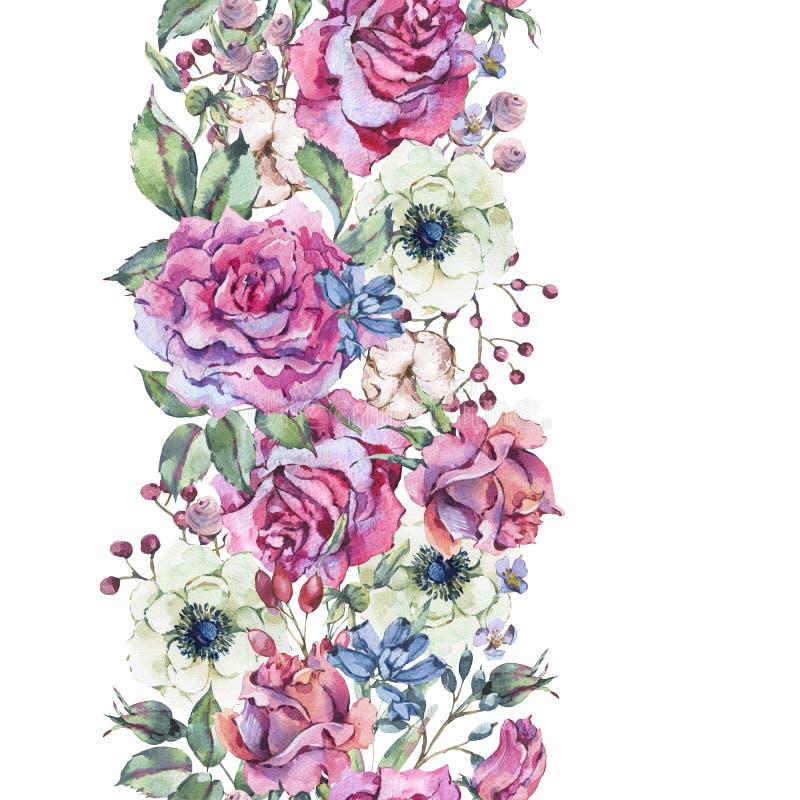 Ρόδινα τριαντάφυλλα Watercolor, άνευ ραφής σύνορα φύσης με τα λουλούδια διανυσματική απεικόνιση