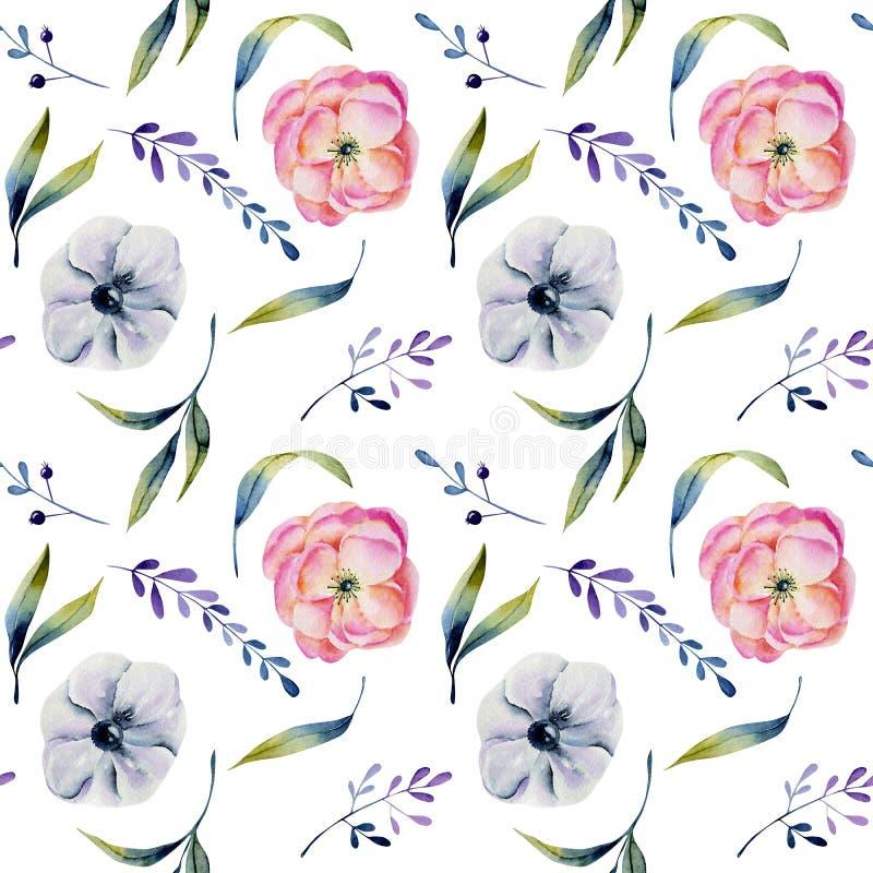Ρόδινα peonies Watercolor και άσπρο άνευ ραφής σχέδιο anemones ελεύθερη απεικόνιση δικαιώματος