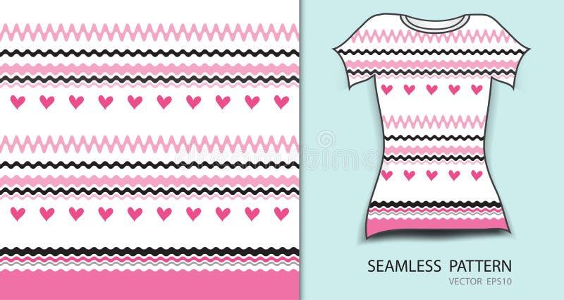Ρόδινες γραμμές και άνευ ραφής διανυσματική απεικόνιση σχεδίων καρδιών, σχέδιο μπλουζών, σύσταση υφάσματος, διαμορφωμένος ιματισμ απεικόνιση αποθεμάτων