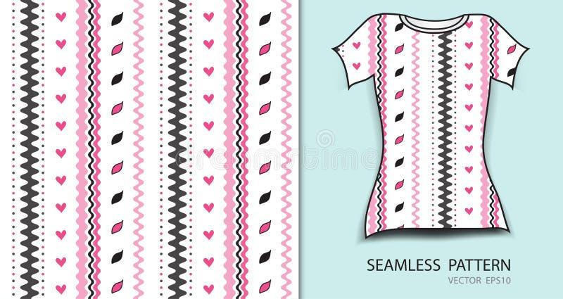 Ρόδινες γραμμές και άνευ ραφής διανυσματική απεικόνιση σχεδίων καρδιών, σχέδιο μπλουζών, σύσταση υφάσματος, διαμορφωμένος ιματισμ ελεύθερη απεικόνιση δικαιώματος