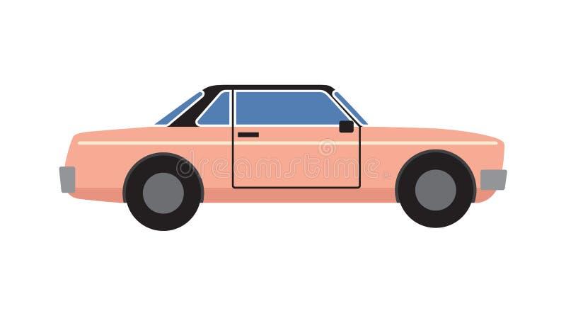Ρόδινη αναδρομική διανυσματική απεικόνιση αυτοκινήτων Coupe που απομονώνεται απεικόνιση αποθεμάτων