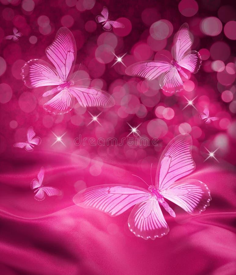 Ρόδινη ανασκόπηση πεταλούδων διανυσματική απεικόνιση