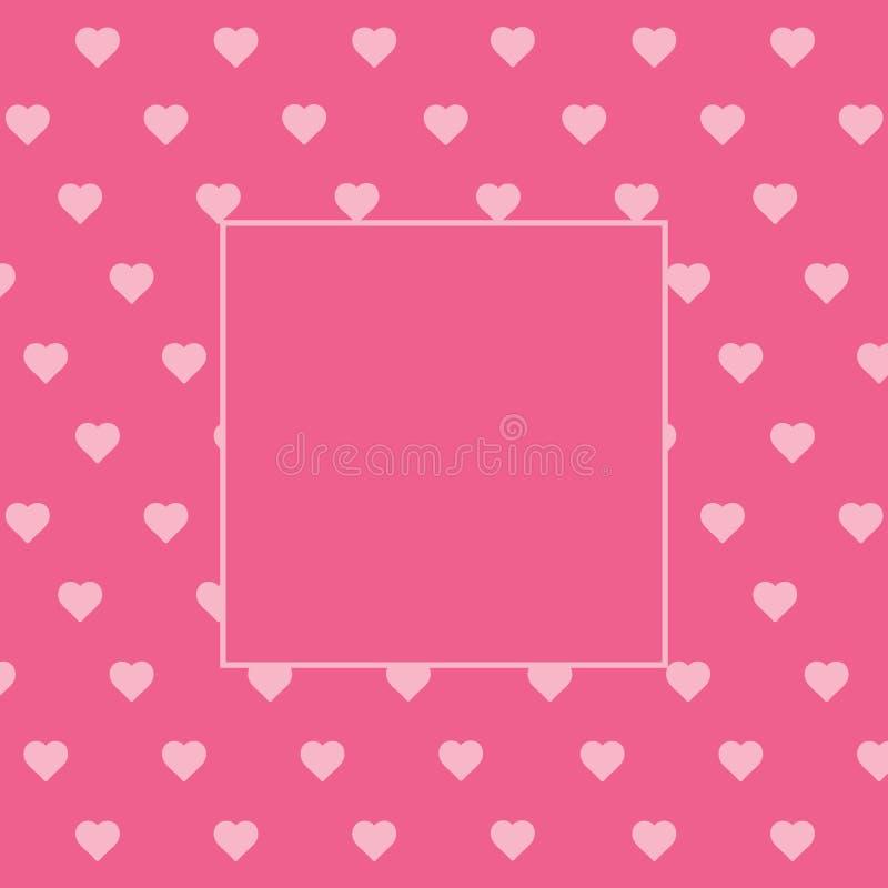 Ρόδινη απόδειξη πρόσκλησης υποβάθρου καρδιών καρτών ημέρας βαλεντίνου με τη θέση για το κείμενο διανυσματική απεικόνιση