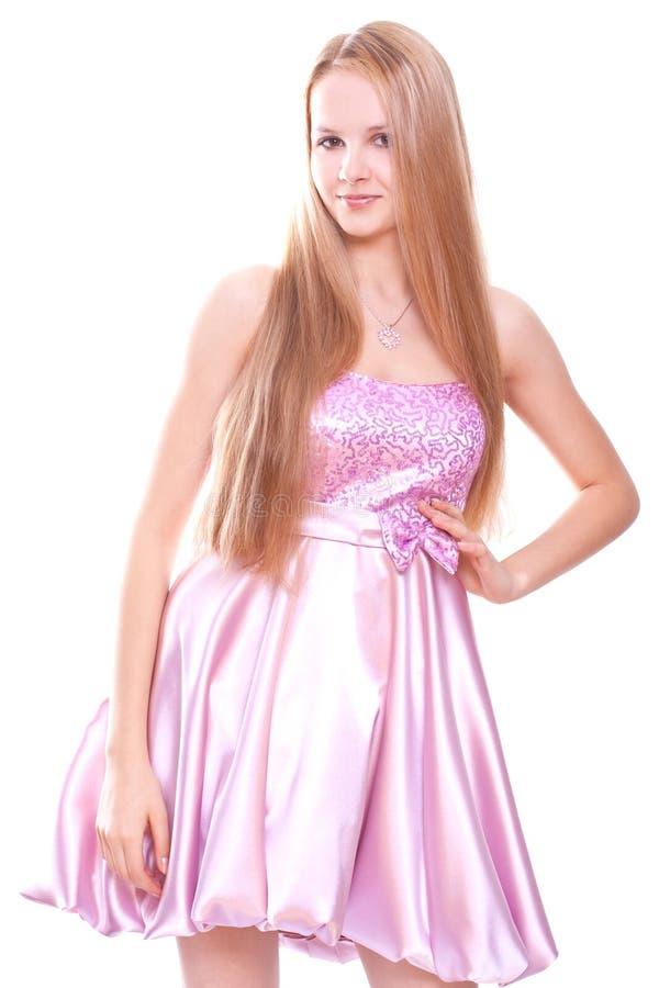 ρόδινη γυναίκα φορεμάτων στοκ εικόνες με δικαίωμα ελεύθερης χρήσης
