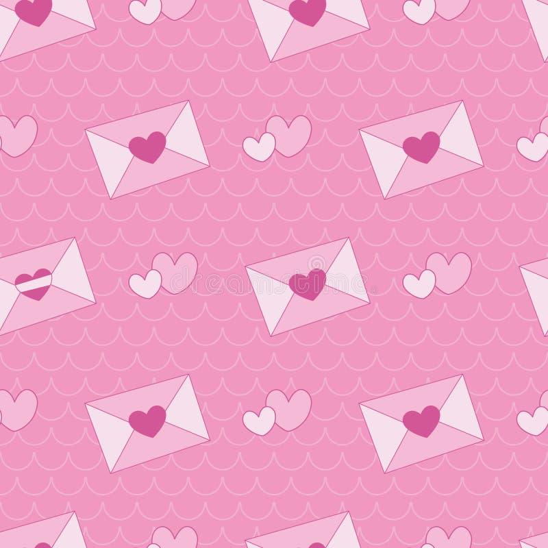 Ρόδινη επιστολή αγάπης καρδιών στο υπόβαθρο κυμάτων ελεύθερη απεικόνιση δικαιώματος