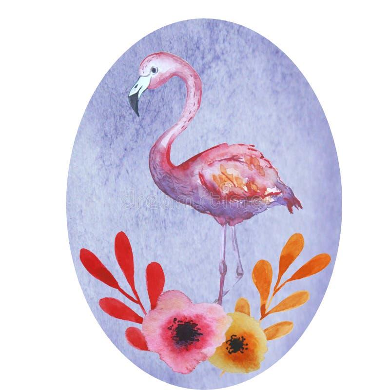 Ρόδινη κάρτα φλαμίγκο διανυσματική απεικόνιση