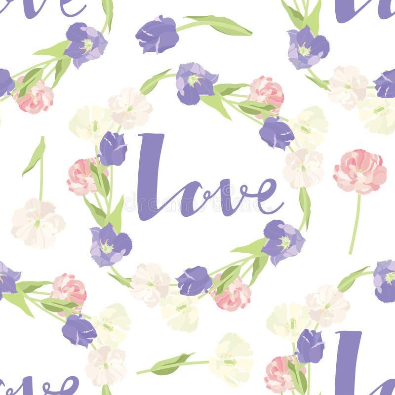 Ρόδινη και ιώδης αγάπη πλαισίων σχεδίων τουλιπών άνευ ραφής διανυσματική απεικόνιση