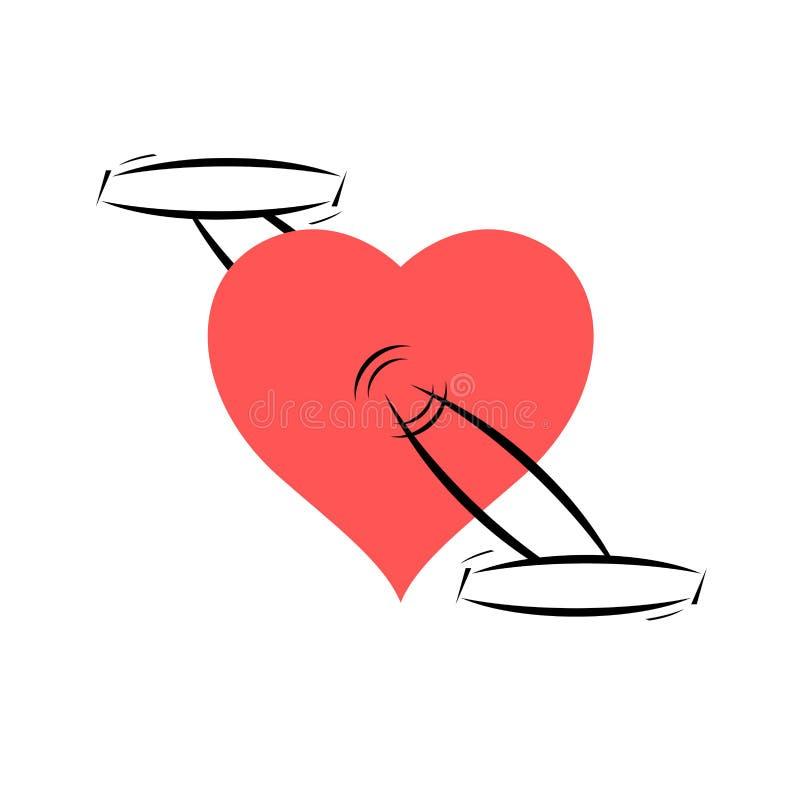 Ρόδινη καρδιά με τα πεντάλια Έννοια ανακύκλωσης αγάπης Αγαθό για τη δημιουργική ιδέα υγείας σας επίσης corel σύρετε το διάνυσμα α απεικόνιση αποθεμάτων