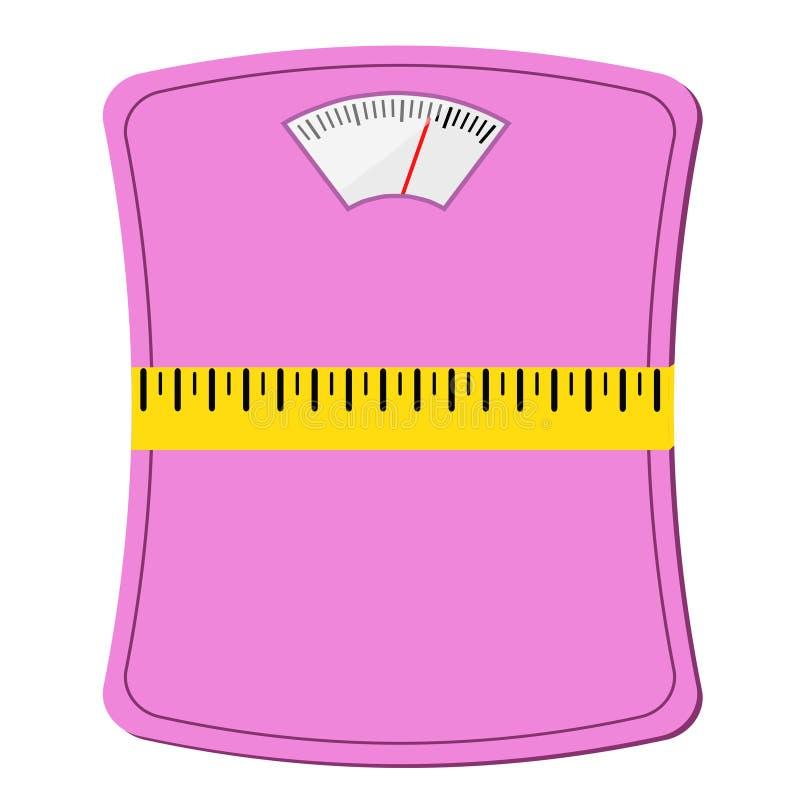 Ρόδινη κλίμακα γυναικών με τη μέτρηση της ταινίας, σχέδιο έννοιας διατροφής, απόθεμα απεικόνιση αποθεμάτων