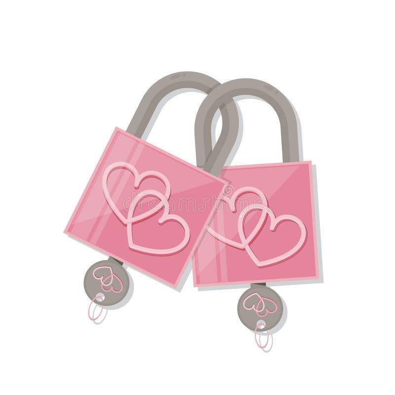 Ρόδινη κλειδαριά καρδιών ζεύγους με το κλειδί σύμβολο αγάπης ημέρας βαλεντίνου απεικόνιση αποθεμάτων