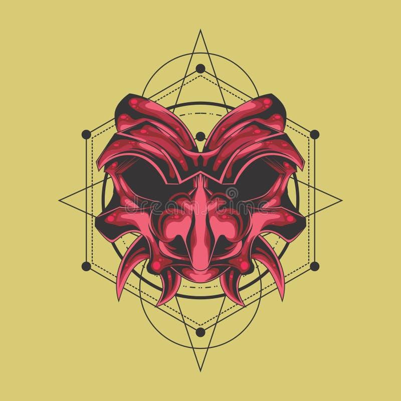 Ρόδινη μάσκα δαιμόνων Σαμουράι διανυσματική απεικόνιση