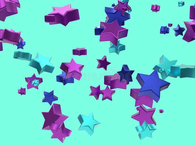 Ρόδινη μπλε μεταλλική τρισδιάστατη απόδοση αστεριών διανυσματική απεικόνιση