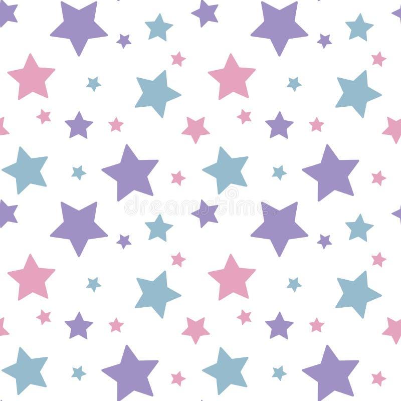 Ρόδινη μπλε πορφύρα αστεριών κρητιδογραφιών ζωηρόχρωμη στην άσπρη ομιλία υποβάθρου ελεύθερη απεικόνιση δικαιώματος